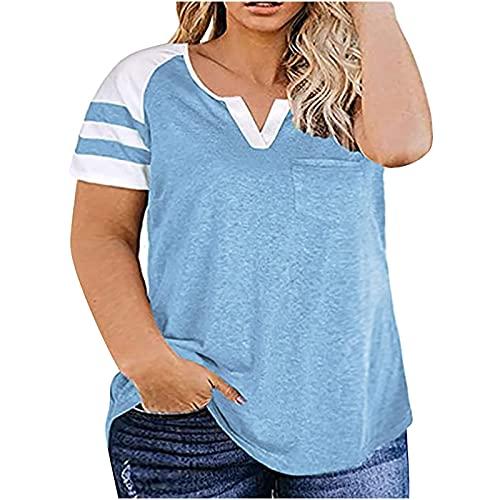 AMhomely Camisas y blusas para mujer, talla grande, informal, con bolsillo en V, manga corta, blusa para oficina, talla Reino Unido