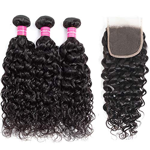 10A Brazilian Water Wave Bundles with closure (12 14 16+10) 100% Unprocessed 10A Brazilian Virgin Water Wave Human Hair 3 Bundles with Swiss Lace closure Hair Extensions Natural Color