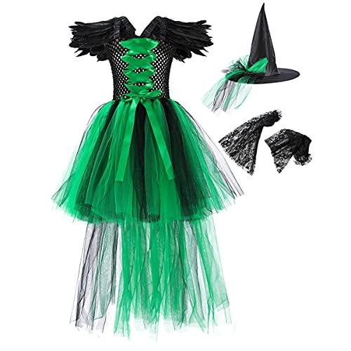 Disfraz Malfica Nia Bruja Vampiresa Reina Malvada Maleficent Princesa Tutu Vestido+Diadema de Cuernos+Las de Angel Conjunto Halloween Carnaval Fiesta de Cosplay Disfraces Verde 8-9 aos