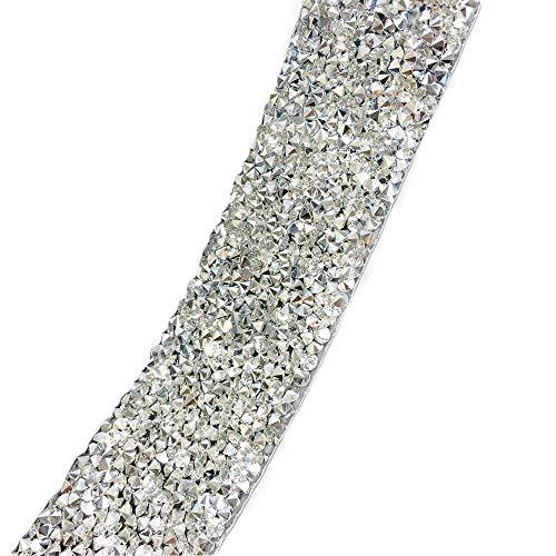 Yalulu 1 Yard DIY Silber Acrylrhinestone Strass Diamant Band für Hochzeitstorten, Brautkleid Guertel Geburtstagsdekoration, Baby Bad Veranstaltungen und Kunsthandwerk Projekt