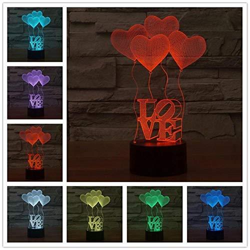 Love 7 Color 3D Interruptor táctil 3D Lámpara Visual Lámpara de acrílico Lámpara de noche Luz nocturna para niños Lámpara de mesa Luz nocturna con luz USB Usb Recargable Niños Ancianos La noche nutre