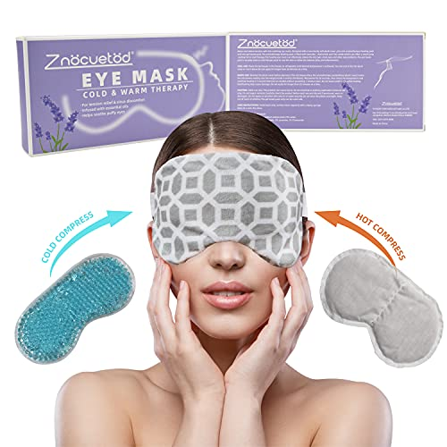 Moist Heat Eye Mask,Ice/Hot Compress Eye Pillow for Dry Eyes,Puffy Eyes with Lavender & Flaxseed Microwaveable