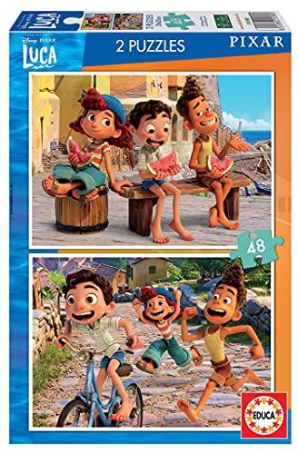 Educa Pixar Luca Disney. Set de Dos Puzzles Infantiles de 48 Piezas. A Partir de 4 años. 19180, Multicolor