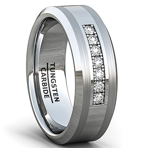 Duke Collections Mens Wedding Band 8mm Polished Tungsten Ring with Cubic Zircon Stones Beveled Edge Comfort Fit (10.5)