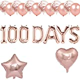 Rose Gold 100 Days Balloons, Happy 100 Days Banner, Korean 100 Days/Baby's 100th Day/100 Days of School/Fall in Love 100 Days Themed Baby Shower Wedding Party Supplies Decorations
