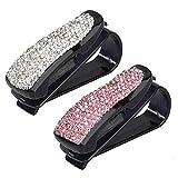 Heveer Porta Occhiali Auto Supporto per Occhiali da Sole con Strass Clip per Carta di Credito per Parasole Occhiali da Vista 2 Pezzi