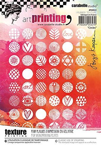 Carabelle Studios Timbro Texture Rettangolare in Gomma della Gamma Art Printing di Carabelle Studio, Cerchi, per lastre in Gel per monotipo, Transparent, taglia unica