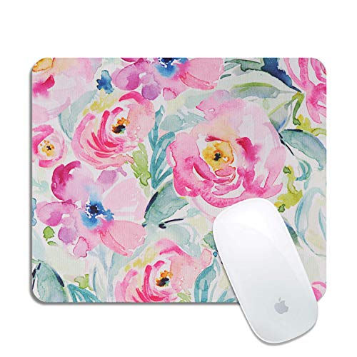 Artiron Mouse Pad, Rectangle Customized Gaming Mouse Mat Non-Slip Cute Mouse Pads with Funny Art Design for Computers Laptop, Ideal Partner for Working or Game 7.9x9.5 inch (Watercolor Flowers)