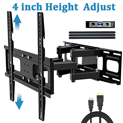 BLUE STONE Tilt TV Wall Mount Full Motion Bracket for Most 32-65 Inch TVs, Dual 6 Arms Swivel Extends Wall Mount TV Bracket for LED, LCD Flat Screen, Curved TVs, VESA 400x400mm 88 lbs with HDMI Cable