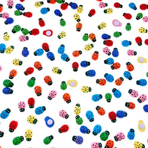 JZK 200 x Mariquitas de madera pegatinas decorativas de colores etiqueta engomada escarabajo para decoración artesanal scrapbooking bricolaje, 12.5 x 9mm