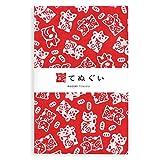 彩(irodori) 小紋手ぬぐい 招き猫(小) ほつれ防止加工なし 33×90cm TE-06132-IR