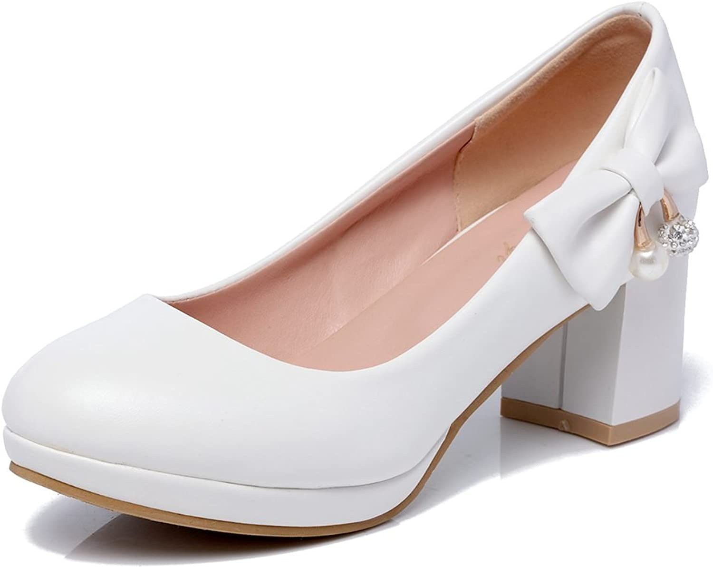 DoraTasia Women's Sweet Patent Leather Chunky Heel Bowtie Slip-on Platform Pumps