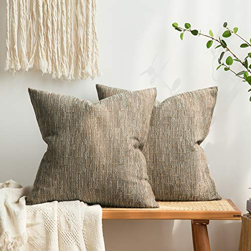MIULEE Pack of 2 Decorative Burlap Linen Throw Pillow Covers Modern Farmhouse Pillowcase Rustic Woven Textured Cushion Cover for Sofa Couch Bed 18x18 Inch Brown