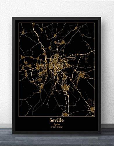 Sevilla España Mapa De La Ciudad Rompecabezas Desafiante Juego Educativo Intelectual Descomprimiendo Juguete Azul,En Casa,Cierre,Regalo De Cumpleaños,Arte De La Pared,Bonito Conjunto De Regalos,300