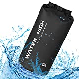 WATER HIGH Waterproof Dry Bag 10L\/20L,Roll Top Dry Sack Keeps Gear Dry with Waterproof Storage Bag for Kayaking, Beach, Rafting, Boating, Hiking, Camping and Fishing(Black 20L)