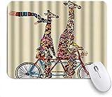 Mauspad größere und kleine bunte giraffe tragen schal befreien tandem fahrrad funning customized art mousepad rutschfeste gummibasis für computer laptop schreibtisch schreibtischzubehör