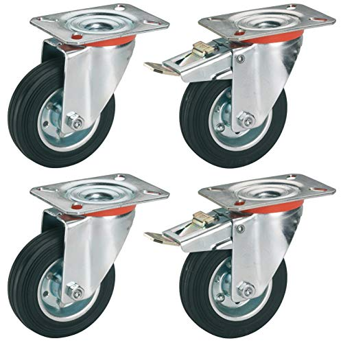 4er Set Roues Pivotantes 80 mm meubles rôle anschraubplatte 60 kg Transport Rôle