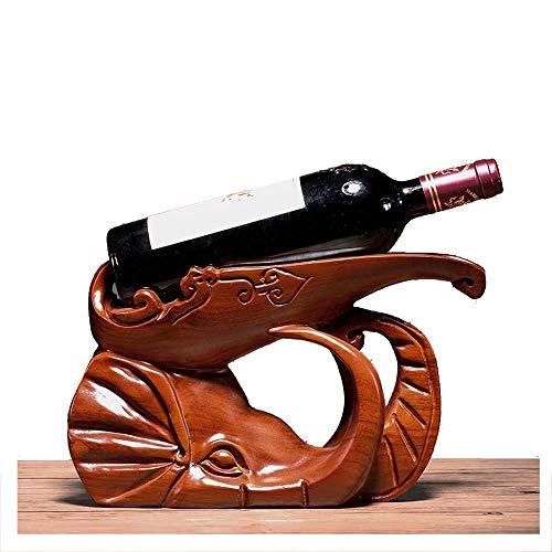 YOLANDE Estante del Vino Artesanal Palo de Rosa Tallado de Elefante Animales Bandeja de Vino botellero Accesorios para el hogar decoración de Caoba