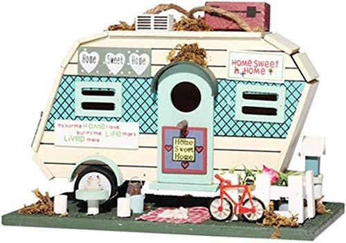 BOC Naturgarten Vogelhaus Kreative Motel Form Retro Kirchturm Holz Vogelhaus Outdoor Hängende Dekoration Englisch Hofgarten Cottages Vogelhaus für kleine Vogelhäuschen...