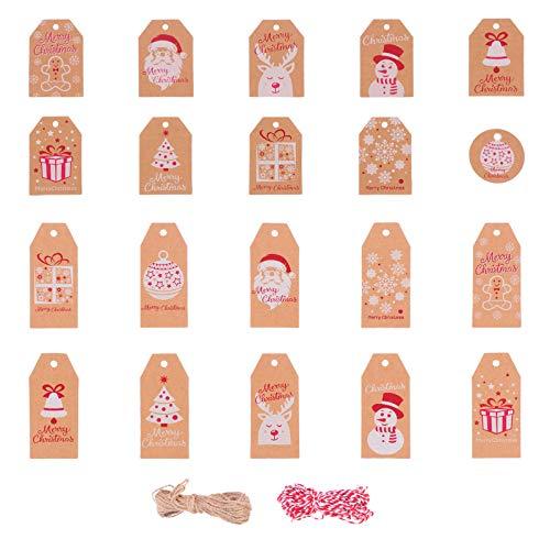 VOSAREA 200Pcs Weihnachtspapieranhänger Kraftgeschenkanhänger Hängen Etiketten mit Schneeflocke Weihnachtsbaumelch-Schneemannmuster mit Schnurseil für