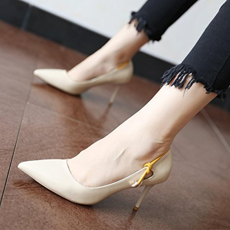 FLYRCX Im europäischen Stil, einfache Art und Weise kreative kreative kreative Persönlichkeit TIPP feine Ferse Schuhe Damen Frühjahr und Herbst flachen Mund Arbeitsschuhe  b76e7b