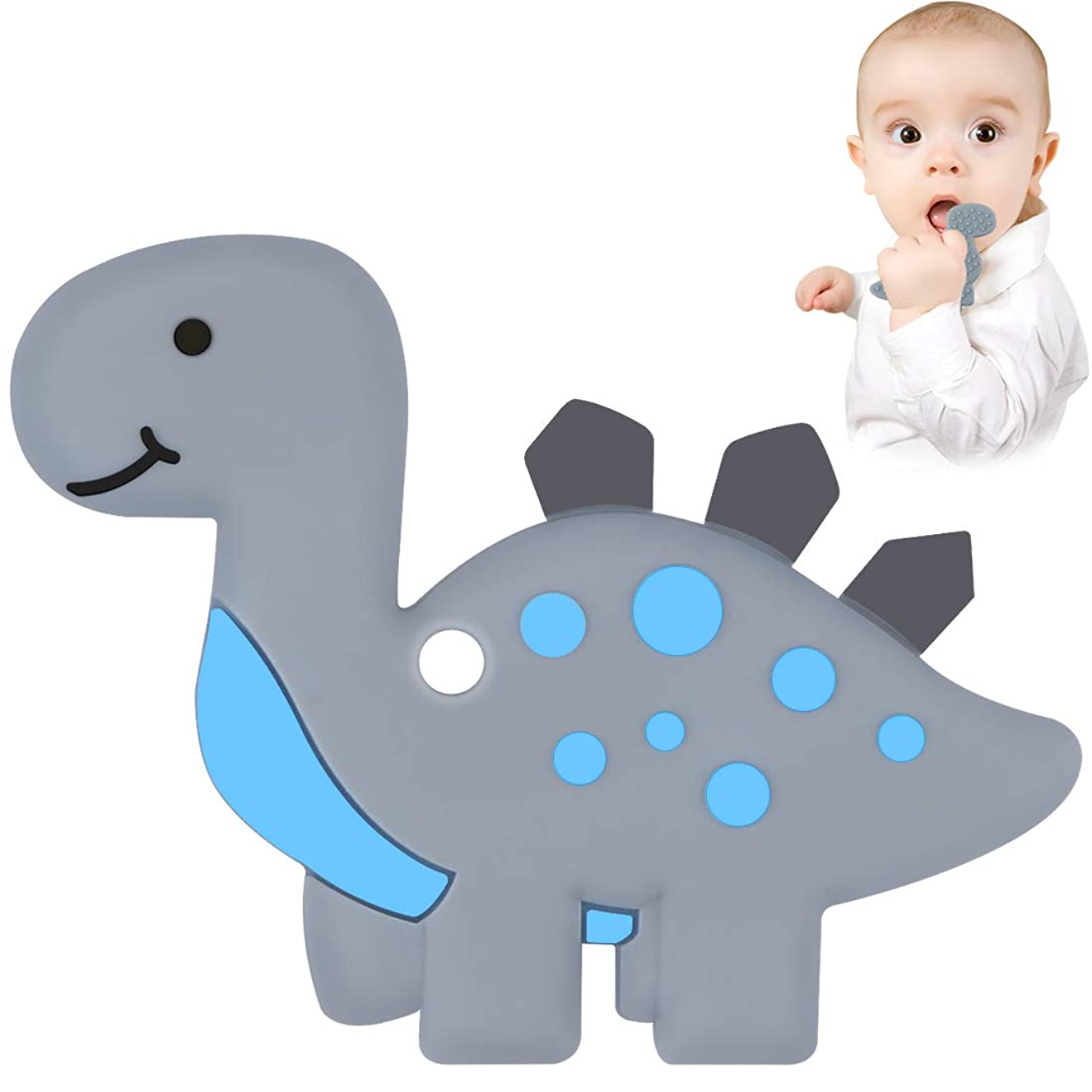 Dinosaur Baby Teether - Bestwin BPA Free Silicone Teething Toy for Baby Shower 0 3 6 12 Months 1 Year Old Christmas Gifts (Grey)