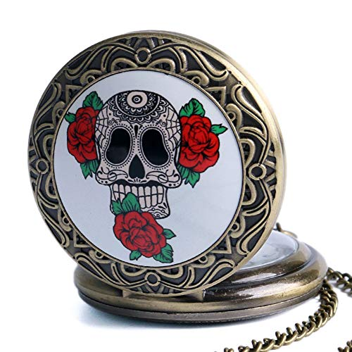 Reloj de Bolsillo Vintage con diseño de Calavera con Flores, Calavera de Bronce pumada con Rosas de Cuarzo, Reloj de Bolsillo, Collar y Cadena de Regalo para Hombres y Mujeres