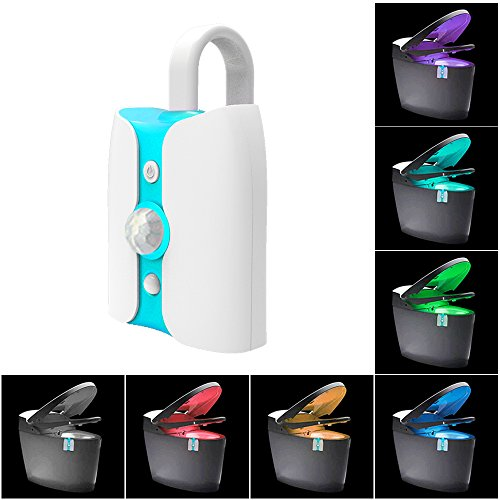HSW LED wc-nachtlampje bewegingssensor, ultraviolette sterilisatie anti-virus automatische sensor nachtlampje, binnen wc-kom stoel licht LED voor badkamer wasruimte [8 kleuren] (1 Pack)