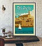 BGFDV Póster de Lienzo de Viaje Retro Minimalista de la Ciudad de Viajes mundiales de Viajes Amsterdam Londres Nueva York póster de impresión de Arte de Pared decoración