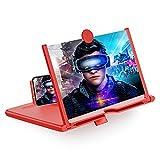 STEBRUAM Lupa de Pantalla,3D Pantalla de 10 Pulgadas Stretch Design de Teléfono Soporte Plegable Adecuada para Ver Videos de películas en Todos for Samsung Galaxy A51 iPhone 12(Rojo)