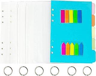 Lot de 2 feuilles de papier de notes rechargeables A5, 6 trous A5, 90 feuilles, 180 pages et 5 intercalaires colorés, 4 en...