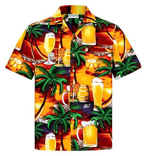 Hawaiihemdshop Hawaiiaans Overhemd | Heren Hemd | Katoen | Grootte S – 8XL | Blauw | Korte mouw | Bier | Strand | Hawaii Shirt | Kokos knopen