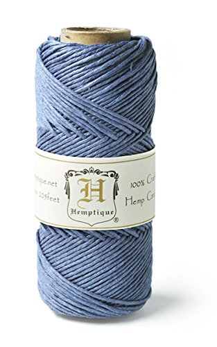 Hemptique 100% Hemp Cord Spool - 62.5 Meter Hemp String - Made with Love - No. 20 ~ 1mm Cord Thread for Jewelry Making, Macrame, Scrapbooking, DIY, & More - Dusty Blue
