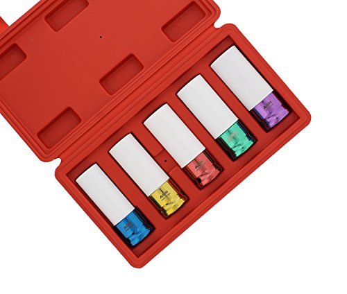 ABN 1/2in Impact Drive Lug Nut Socket 5-Piece Set – Non-Marring, Color-Coded, Thin-Walled Wheel Rim Protectors
