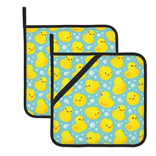 Pot Holders for Kitchen Heat Resistant Yellow Cartoon Rubber Ducks Oven Hot Pads Potholders for Cooking Baking Grilling Microwave Insulation Dish Drying Mat