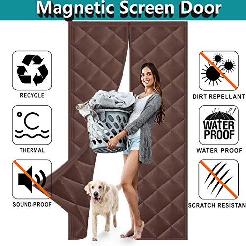 Magnética Espesar Puerta Cortina 225x235cm, Adsorción magnética Plegable, A Prueba de Viento Ruido Puerta Panel, Cortina Térmica Magnética con Aislante Puertas/para Pasillos - Marrón