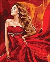 子供のための番号のデジタル化によるDiyペイント、ブラシで大人のためのペイント、ウォールアートの写真、アクリル絵の具の赤いドレス