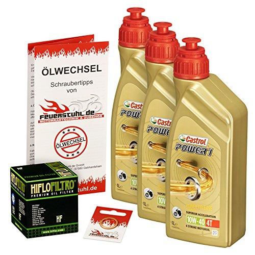 Castrol 10W-40 Öl + HiFlo Ölfilter für Yamaha XT 600 /E/K, 87-03, 2KF 2NF 3TB 3UW DJ02 - Ölwechselset inkl. Motoröl, Filter, Dichtring