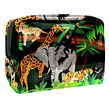 Make-up Taschen Tragbare Reise Kosmetiktasche Organizer Multifunktionskoffer Giraffe Elefant Tiger AFFE mit Reißverschluss-Kulturbeutel für Frauen