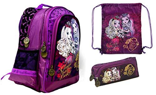 Ever After High - Ensemble de 3 pièces : sac à dos d'école 38 x 29 x 17 cm + trousse à crayons + sac de sport - Pour l'école, le sport et les loisirs