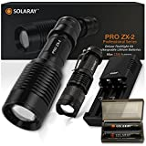 Super Bright Handheld LED Emergency Flashlights – Professional Series ZX-2 Kit High Lumen Flashlight – 5 Light Modes, Adjustable Focus, Outdoor Water Resistant – Rechargeable Battery, Charger