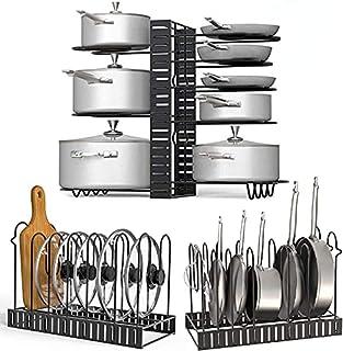Toplife Porte-casseroles, 2 DIY Méthodes Porte-casseroles Support en Acier Inoxydable Rangement Cuisine avec 8 Compartimen...