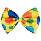 Boland 55535 - Pajarita de payaso grande, tamaño 15 x 21 cm, poliéster, lunares multicolor, pájaro, narro, disfraz, carnaval, fiesta temática