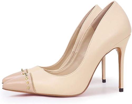 HRCxue Femmes Femmes Bout Rond Talons Pointus Pointus cloutés, Couleur Nude, Chaussures à Talons Aiguilles superficielles pour Femmes  marque de luxe