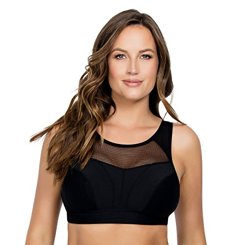 PARFAIT Breeze Women's Full Busted Wire Free Unlined Yoga Low Impact Sports Bra P5542-Black-34G