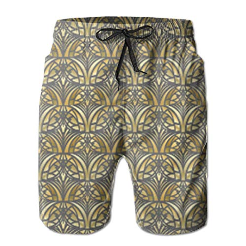 DLing Herren Badehose Gelb Art Deco Small Quick Dry Beach Board Shorts,M