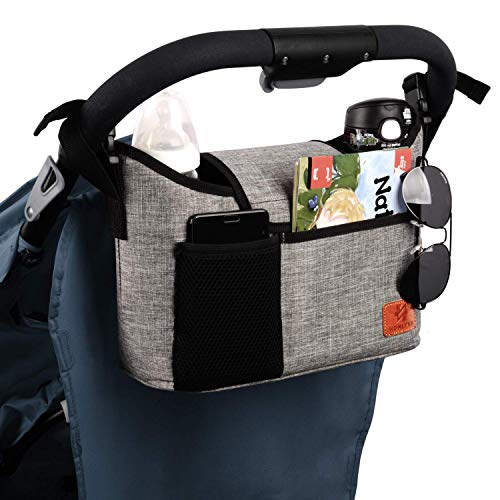 Buggy Pram Bag Organiser, 11L Large Capacity for Baby Accessories with 2 Deep Cup Holders & Shoulder Strap Used as Carry-On Handbag-Universal Fit All Buggy Models (Grey)