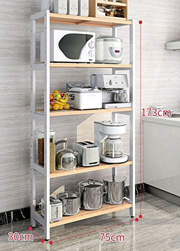 Simple.Home.zgl Wooden Shelves Unit 5 Tier - Free Standing Bookcases, Storage Shelf for Kitchen Bedroom Living Room, Spacer Pitch can be Adjusted, 75 × 30 × 173 cm (Color : White+wood)