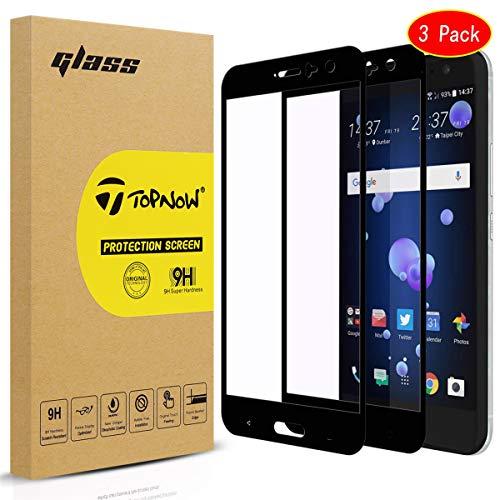 Topnow [3 Packs] HTC U11 Schutzfolie,Ultra-klar Displayschutzfolie,9H Härte Gehärtetes panzerglas,Keine Blasen Screen Protector for HTC U11 - Schwarz Black