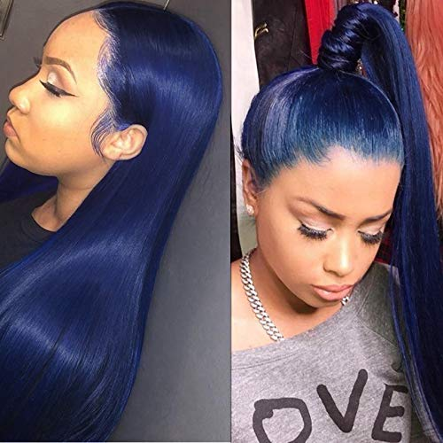KRN Blue Color Remy Human Hair Wigs Silky Straight 130% Density Lace Front Wigs Pre Plucked Natural Hairline Full Lace Wig with Baby Hair for Women (24 Inch, Lace Front Wig)